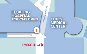 Map of Tufts Medical Center and Floating Hospital for Children in downtown Boston.