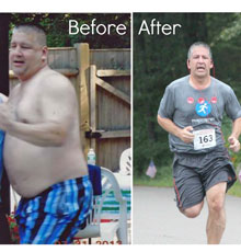 Patient of the Weight and Wellness Center at Tufts MC in a before and after shot.